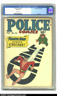 Police Comics #54 (Quality, 1946) CGC VF+ 8.5 Off-white pages. Superb artistry by Lou Fine, Paul Gustavson, and Al Bryan...