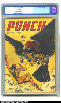 Punch Comics #20 (Chesler, 1947) CGC VG- 3.5 Cream to off-white pages. This classic sports a unique cover with bare brea...