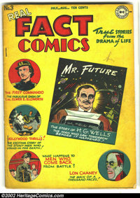 Real Fact Comics #3 (DC, 1946) Condition: VG+. VG+. H.G. Wells, Lon Chaney stories; 1st DC letter column. Overstreet 200...