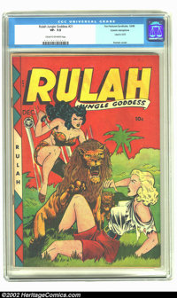 Rulah Jungle Goddess #21 Cosmic Aeroplane pedigree (Fox Features Syndicate, 1948) CGC VF- 7.5 Cream to off-white pages...
