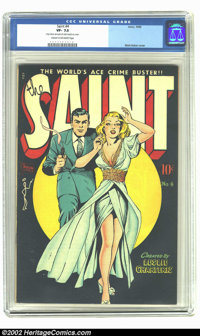 """Saint #4 (Avon, 1948) CGC VF- 7.5 Cream to off-white pages. Incredible Matt Baker cover. CGC notes read, """"Very mino..."""