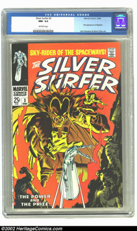 The Silver Surfer #3 (Marvel, 1968) CGC NM- 9.2 Off-white pages. Beautiful squarebound giant, first appearance of Mephis...