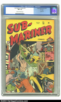 "Sub-Mariner Comics #19 ""D"" Copy pedigree (Timely, 1946) CGC NM- 9.2 Cream to off-white pages. On this great co..."