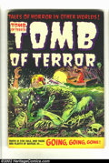 Golden Age (1938-1955):Horror, Tomb of Terror #16 (Harvey, 1954) Condition = VG-. Some abrasionsat the spine keep this classic precode horror comic from g...