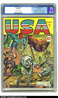 U.S.A Comics #1 Kansas City pedigree (Timely, 1941) CGC VF 8.0 Off-white to white pages. The Defender charges toward the...