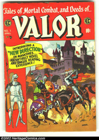 Valor #1 (EC, 1955) Condition: VG+. Cool Wally Wood cover. Overstreet 2002 GD 2.0 value = $25; FN 6.0 value = $60