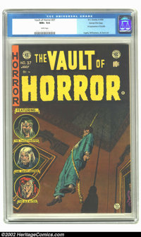 Vault of Horror #37 Gaines File pedigree 4/12 (EC, 1954) CGC NM+ 9.6 White pages. We can almost feel the breeze from the...