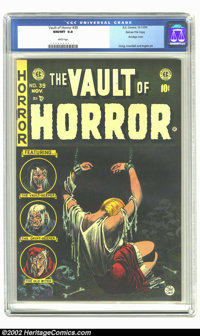 Vault of Horror #39 Gaines File pedigree 4/12 (EC, 1954) CGC NM/MT 9.8 White pages. It is amazing that the dark green ba...