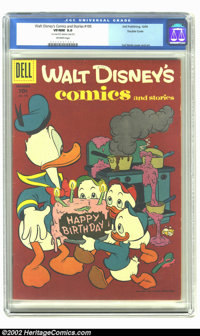 """Walt Disney's Comics and Stories #195 Double cover (Dell, 1956) CGC VF/NM 9.0 Off-white pages. CGC notes: """"1st cove..."""