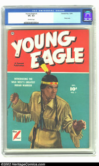 Young Eagle #1 (Fawcett, 1950) CGC VF+ 8.5 Off-white pages. Overstreet 2002 VF 8.0 value = $94; NM 9.4 value = $160