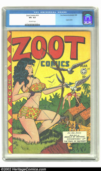"Zoot Comics #14 (Fox Features Syndicate, 1948) CGC VF+ 8.5 Off-white pages. Besides the ""good girl"" cover and..."