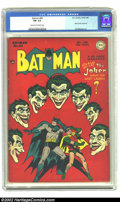Golden Age (1938-1955):Superhero, Batman #44 (DC, 1947) CGC FN- 5.5 Cream to off-white pages. Joker cover and story. Overstreet 2002 FN 6.0 value = $450. Fr...