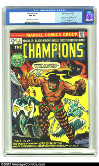 Champions, The #1 (Marvel, 1975) CGC NM 9.4 Off-white to white pages. Origin and first appearance of the Champions. Gil...