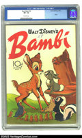 Golden Age (1938-1955):Cartoon Character, Four Color #12 (Dell, 1942) CGC VF- 7.5 Off-white pages. WaltDisney's Bambi. Overstreet 2002 VF 8.0 value = $.413...