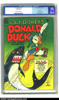 "Golden Age (1938-1955):Cartoon Character, Four Color #291 (Dell, 1950) CGC VF- 7.5 Off-white to white pages.Donald Duck in ""The Magic Hourglass."" Carl Barks art. Ove..."