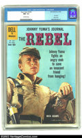 "Silver Age (1956-1969):Western, Four Color #1076 ""The Rebel"" (Dell, 1960) CGC NM- 9.2 Off-whitepages. Johnny Yuma fights an angry mob to save an innocent f..."