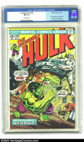 Bronze Age (1970-1979):Superhero, The Incredible Hulk #180 (Marvel, 1974) CGC NM 9.4 Off-white pages.First appearance of Wolverine in cameo on last page. Ove...
