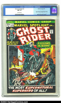Marvel Spotlight #5 (Marvel, 1972) CGC NM 9.4 Off-white pages. Featuring the first appearance of Ghost Rider, one of Mar...