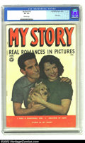 Golden Age (1938-1955):Romance, My Story #12 (Fox, 1950) CGC VG 4.0 Off-white pages. Photo cover.Overstreet 2002 GD 2.0 value = $10; FN 6.0 value = $30. ...