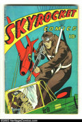 Golden Age (1938-1955):War, Skyrocket nn (Chesler, 1944) Condition: VG+. Extremely gruesomecover of a skyman shooting a Japanese soldier repeatedly. Ov...