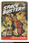 Golden Age (1938-1955):Science Fiction, Space Busters #1 (Ziff-Davis, 1952) Condition: FN-. Beautifulpainted cover by Norman Saunders. Overstreet 2002 FN 6.0 value...