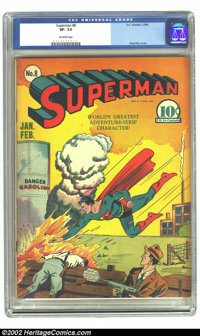 Superman #8 (DC, 1941) CGC VF- 7.5 Off-white pages. Fred Ray cover. Wayne Boring, Joe Shuster art. Overstreet 2002 VF 8...