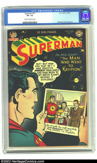 Superman #77 (DC, 1952) CGC VF- 7.5 Cream to off-white pages. Mortimer cover, Boring art. Overstreet 2002 VF 8.0 value =...