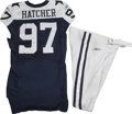 Football Collectibles:Uniforms, 2006 Jason Hatcher Game Worn Jersey with Pants. Reebok navy blue mesh throwback gamer with navy blue stars on the shoulders...