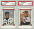 Autographs:Sports Cards, Willie Mays Signed Trade Cards PSA Authentic. Each of the trade cards we see here has been signed by the Hall of Fame five-...