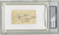 Autographs:Letters, Mickey Mantle Cut Signature PSA NM-MT 8. The Mick's highlysought-after signature appears on this cut, which has been mount...
