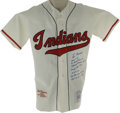 Autographs:Jerseys, Lou Boudreau Signed Throwback Stat Jersey. One of the finest uniforms in the history of baseball is seen here with this exc...