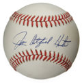 Autographs:Baseballs, Jim Catfish Hunter Single Signed Baseball. The clutch pinpointhurler Catfish Hunter makes the offered OAL (Brown) a canvas...