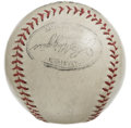 Autographs:Baseballs, Baseball Legends Multi-Signed Baseball with Rabbit Maranville andWhitey Ford. Circa 1938-39 ball signed by four members of...