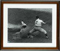 Autographs:Photos, Joe DiMaggio Signed Oversized Photograph. Tremendous action shot ofthe Yankee Clipper makes for a perfect canvas for the H... (Total:3 )