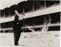 """Autographs:Photos, Mickey Mantle """"No. 7"""" Signed Oversized Photograph. In what issurely one of the more interesting photos of the Hall of Fame..."""