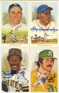 Autographs:Post Cards, Signed Perez-Steele Postcards Lot of 4. Each of four Hall of Famersget revered artistic treatment by the Perez-Steele comp...