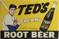 "Autographs:Others, Ted Williams Signed Tin Sign. Perfect replica of the signs once manufactured to promote ""Ted's Creamy Root Beer"" offers a 9/..."
