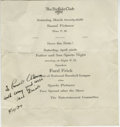 """Autographs:Others, 1937 Ford Frick Signed Flyer. On this 6x7"""" flyer announcingNational League commissioner Ford Frick's appearance as a speak..."""