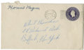 Autographs:Letters, Honus Wagner Signed Envelope. One of the first induction class intobaseball's hallowed Hall of Fame in Cooperstown, the pr...