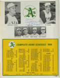 Autographs:Others, 1969 Oakland A's Official Scorecard Signed by Joe DiMaggio. For twobrief seasons, Joe DiMaggio served on the coaching staf...
