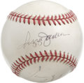 Autographs:Baseballs, Triple-Signed Baseball with Hall of Famers. A trio of signaturesappears on the OAL (Brown) baseball that we see here, incl...