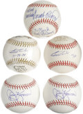 Autographs:Baseballs, Miscellaneous Baseball Stars Signed Baseballs Lot of 5. Here weoffer a quintet of signed baseballs from former major leagu...