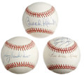 Autographs:Baseballs, Baseball Stars Signed Baseball Lot of 3. Exceptionally clean OAL(Brown) baseball sports a pristine autograph from HOFer Br...(Total: 3 )