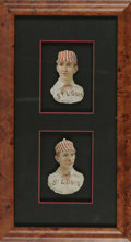 "Autographs:Sports Cards, 1888 ""Scrapps Tobacco"" Die-Cuts. Here we offer a pair of theembossed die-cut cards issued by Scrapps Tobacco circa 1888, t..."