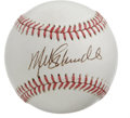 Autographs:Baseballs, Mike Schmidt Single Signed Baseball with Signed Card. The Philliesstruck gold with Mike Schmidt, as they possessed the bes...