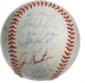 Autographs:Baseballs, 1982 Oakland Athletics Team Signed Baseball. Twenty-sevensignatures from the 1982 Oakland Athletics are found on thesurfa...