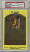 Autographs:Post Cards, Yogi Berra Signed Gold Hall of Fame Plaque, PSA Authentic. Eccentric Hall of Fame backstop Yogi Berra offers his 10/10 shar...