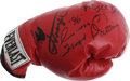 Boxing Collectibles:Autographs, Boxing Stars Multi-Signed Glove. Four of boxing's favorite heroeshave each checked in on the Everlast boxing glove that we...