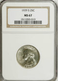 Washington Quarters: , 1939-S 25C MS67 NGC. Bright and satiny, with exquisitely struckdevices and mere traces of speckled patina on the upper lef...