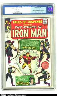 Tales of Suspense #57 (Marvel, 1964) CGC NM 9.4 Off-white pages. Origin and first appearance of Hawkeye; early Black Wid...